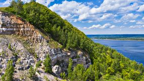 Aerial view of the drone mountains on the background of the Volga river. The middle band of Russia stock photo