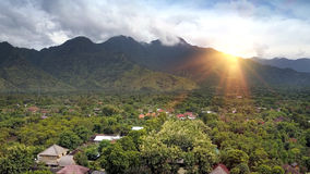 Aerial view from drone, North of Bali - Pemuteran, Jungle and mountains.  Royalty Free Stock Image