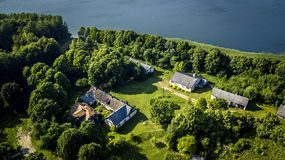 Aerial view from drone on one house in countryside. Royalty Free Stock Photo