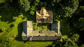 Aerial view from drone on one house in countryside. Royalty Free Stock Image