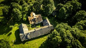 Aerial view from drone on one house in countryside. Stock Images