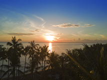 Aerial view from drone on palm trees and the sea on a sunset. Bali. Indonesia.  Royalty Free Stock Photos