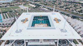 Free Aerial View, Drone Photography Of Hard Rock Stadium Located In Miami Gardens. Home Stadium Of The Miami Dolphins. Under Constructi Royalty Free Stock Image - 150846256