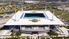 Free Aerial View, Drone Photography Of Hard Rock Stadium Of The Miami Dolphins. Aerial View On Hard Rock Stadium Super Bowl LIV. Stadiu Stock Photos - 165328583