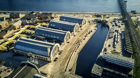 Aerial view from drone on Riga Central market. royalty free stock photo