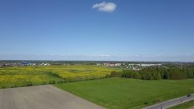 Aerial view from drone on the road with moving cars running in fields.  stock footage