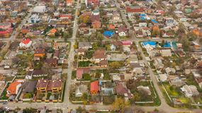 Urban bird`s eye view from drone of roofs in Dnipro city. Aerial view from drone of the roofs and street in Dnipro city. Dnepr, Dnepropetrovsk, Dnipropetrovsk royalty free stock photo