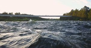 Aerial View from Drone of Rough River. Aerial View from Drone of Rough Niva River flowing through the Kandalaksha Town in Russia Royalty Free Stock Photography