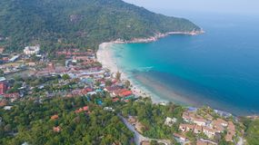 Aerial view from the drone on the sand beach of Haad Rin, Koh Phangan island. Thailand stock photo