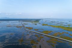 Aerial view Drone shot of BridgeEkachai bridgeColorful Road bridge cross the lake at Talay Noi Lake in Phatthalung province. Thailand stock photo