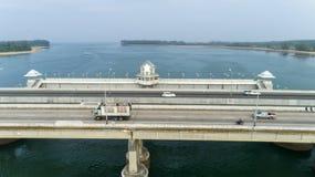 Aerial View Drone shot of sarasin bridge Phuket thailand image transportation background.  royalty free stock images