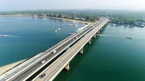 Aerial View Drone shot of sarasin bridge Phuket thailand image transportation background.  royalty free stock photo