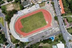 aerial view drone shot Top view of soccer field or football field stock photos