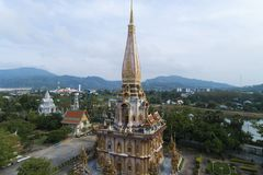 Aerial view drone shot of wat chalong temple or Wat Chaithararam stock images