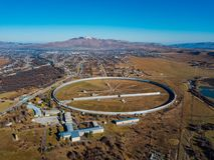 Aerial view from drone to big radio telescope RATAN-600 SAO RAS. Zelenchukskaya, Karachay-Cherkessia, Russia.  royalty free stock photo