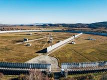 Aerial view from drone to big radio telescope RATAN-600 SAO RAS. Zelenchukskaya, Karachay-Cherkessia, Russia.  royalty free stock photography