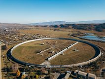 Aerial view from drone to big radio telescope RATAN-600 SAO RAS. Zelenchukskaya, Karachay-Cherkessia, Russia.  stock photos
