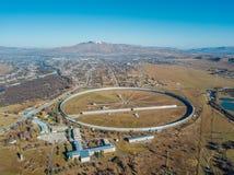 Aerial view from drone to big radio telescope RATAN-600 SAO RAS. Zelenchukskaya, Karachay-Cherkessia, Russia.  stock image