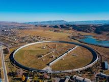 Aerial view from drone to big radio telescope RATAN-600 SAO RAS. Zelenchukskaya, Karachay-Cherkessia, Russia.  stock images