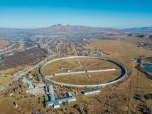 Aerial view from drone to big radio telescope RATAN-600 SAO RAS. Zelenchukskaya, Karachay-Cherkessia, Russia.  stock photo