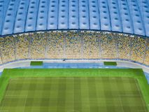 Aerial view from the drone to the football stadium NSC Olimpiysky with the blue-yellow stands Kiev, Ukraine royalty free stock images