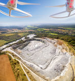 Aerial view from drone to opencast mine. Royalty Free Stock Images
