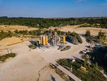 Aerial view from drone to sand pit, sunny day Stock Images