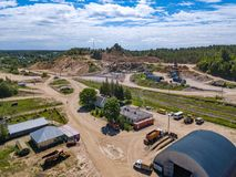 Aerial view from drone to sand pit, sunny day. Russia Royalty Free Stock Photos