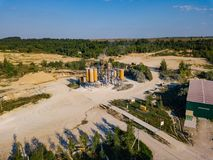 Aerial view from drone to sand pit, sunny day Stock Image