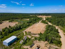 Aerial view from drone to sand pit, sunny day. Russia Royalty Free Stock Image