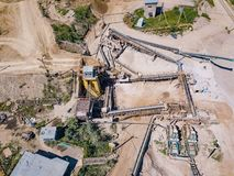 Aerial view from drone to sand pit, sunny day. Russia Royalty Free Stock Photo
