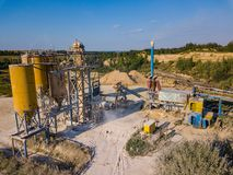 Aerial view from drone to sand pit, sunny day Stock Photo