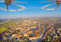 Aerial view from drone. Aerial view from drone to small town in Western Bohemia (Dobrany), Czech Republic, Europe Stock Photo