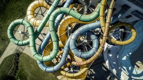 Aerial view from drone on tubes in the water park. royalty free stock image
