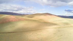 Aerial view of a vast landscape in Mongolia. Aerial view from a drone of a vast mountain landscape in northern Mongolia. Khuvsgol, Mongolia Royalty Free Stock Photo