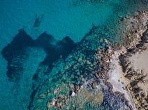 Aerial View: Drone video of beaches in Rhodes Mandriko, Rodos island. Aegean, Greece Stock Photos