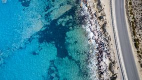 Aerial View: Drone video of beaches in Rhodes Mandriko, Rodos island. Aegean, Greece Royalty Free Stock Photography