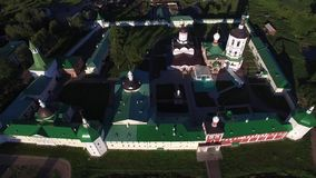 Aerial view drone video of beautiful monastery in Dmitrov area of central Russia stock video footage