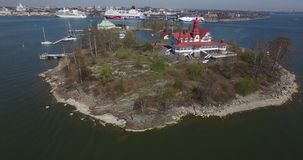 Aerial view drone video of Helsinki Baltic Sea bay area in Finland, northern Europe stock footage