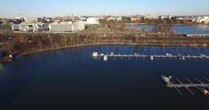 Aerial view drone video of Helsinki Baltic Sea Lagoon area, Finland stock video footage