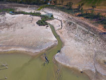 Aerial view of drought affected wetlands River Murray Royalty Free Stock Image