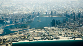 Aerial view of Dubai bay with skyscraper Royalty Free Stock Image