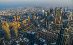 Aerial view of Dubai City at sunrise stock images