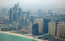 Aerial view of Dubai coast Stock Images