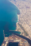 Aerial view Dubai Coastline. Aerial view of Dubai coastline in the United Arab Emirates. Dubai was at one point, the fastest growing economy in the region and a royalty free stock images
