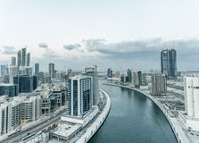 Aerial view of Dubai Downtown on a beautiful day.  Stock Image