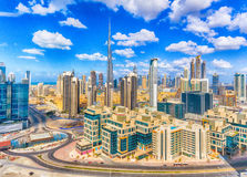 Aerial view of Dubai Downtown on a beautiful day royalty free stock image