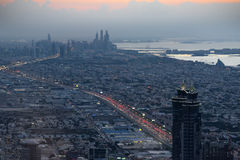 Aerial view of Dubai at the dusk Stock Photography