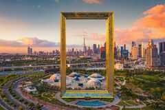 Aerial view of Dubai Frame, Downtown skyline, United Arab Emirates or UAE. Financial district and business area in smart urban