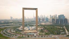 Aerial view of Dubai Frame. Dubai, United Arab Emirates, March 2019 - Aerial view of Dubai Frame stock video